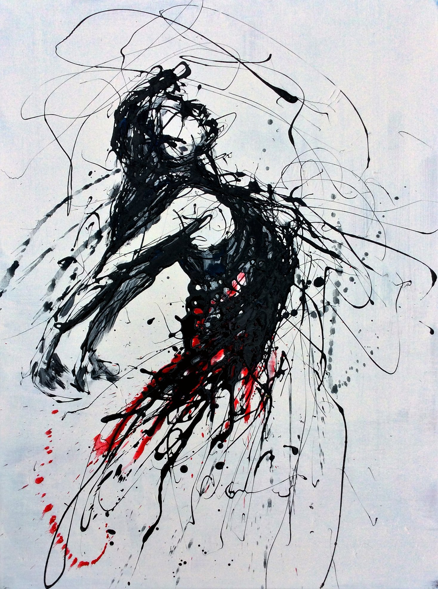 Drip painting Study of a dancing woman No 1