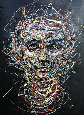 "Drip painting by drip painting artist Ole Hedeager""I'm wired up"" 90*120 cm. Oil on canvas  Exhibition in; Galleri Beck"