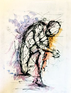 drip painting by ole hedeager, the thinker, art and painting