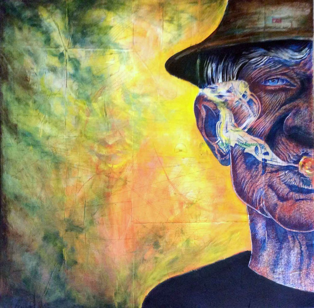the man with the cigar painting by ole hedeager